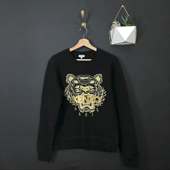 a5b7172da Kenzo Tops | Paris Black And Gold Lion Sweatshirt | Poshmark